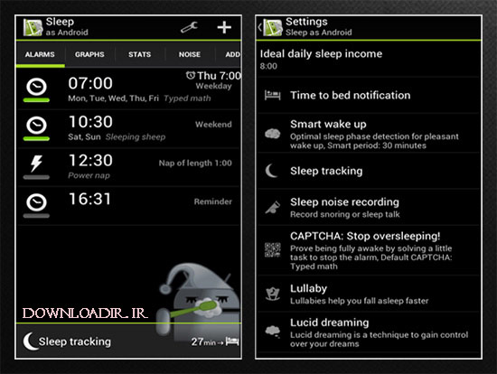 دانلود برنامه مدیریت خواب Sleep as android اندروید